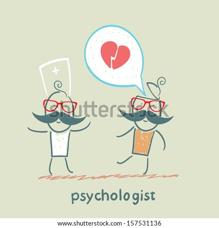 psychologist is listening to the patient, who speaks of love - stock vector
