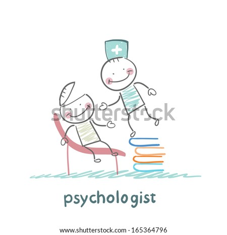 psychologist is on a stack of books and looks inside the patient's head - stock vector
