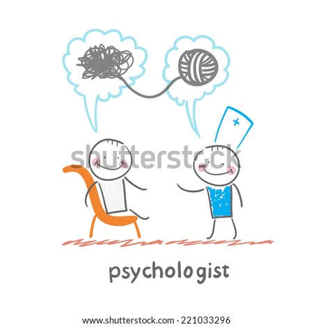 psychologist says to the patient, and solves problems - stock vector