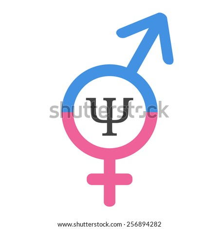 Psychology of sex or gender psychology logo. United signs of man and woman with psi letter