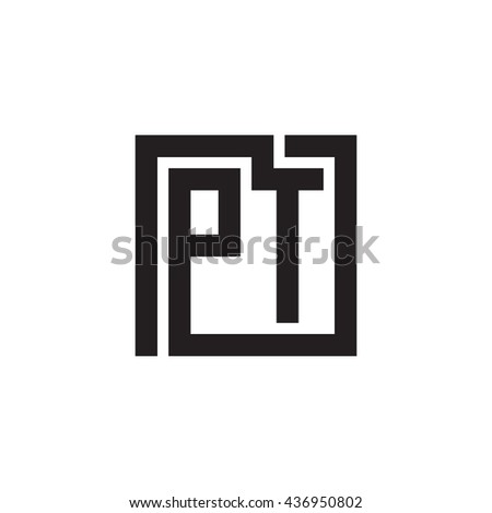 PT initial letters looping linked square monogram logo