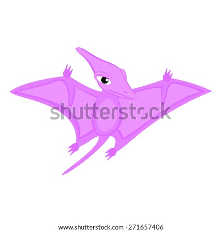 Pterodactyl Dinosaur cartoon Flying animal Cute girlish pterodactyl cartoon character illustration  - stock vector