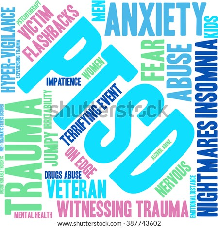 PTSD Word Cloud on a white background.  - stock vector