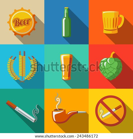 Pub (beer) flat long shadow icons set with - Glass, mug, bottle, hop, wheat, tap, pipe, cigarette, no smoking sign. Vector - stock vector