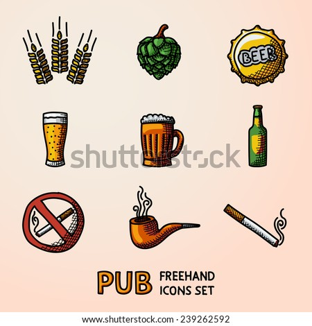 Pub (beer) handdrawn icons set with - Glass, mug, bottle, hop, wheat, tap, pipe, cigarette, no smoking sign. Vector - stock vector