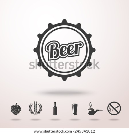 Pub (beer) icons set with - Glass, bottle, hop, wheat, tap, pipe, cigarette no smoking sign. Vector - stock vector