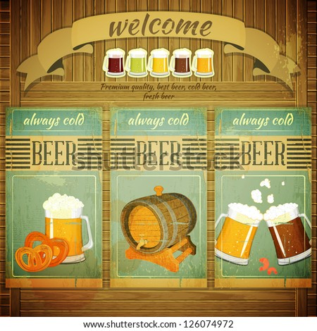 Pub Beer Menu in Retro Vintage Grunge Style, Set of Labels on Wooden Background. Vector Illustration. - stock vector