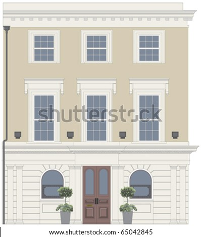 Pub or restaurant facade with ornate window - stock vector