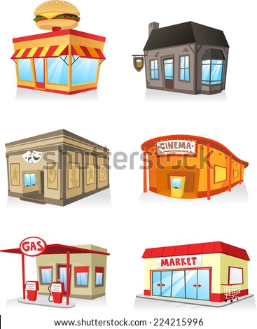 Public building cartoon set, fast food restaurant, cinema, gas station, theatre, bar, super market, market, service industry. - stock vector