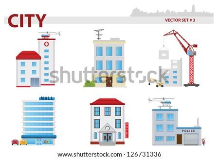 Public building. Set 3 - stock vector