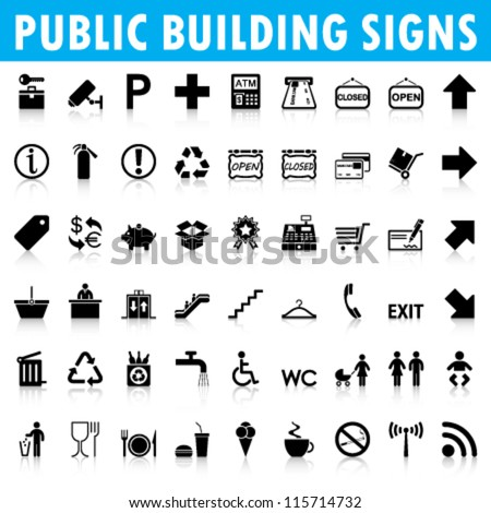 Public building signs Vector - stock vector