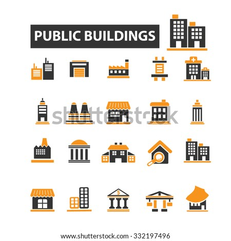 public, commercial, city, urban, administrative houses, buildings icon & sign concept vector set for infographics, website - stock vector