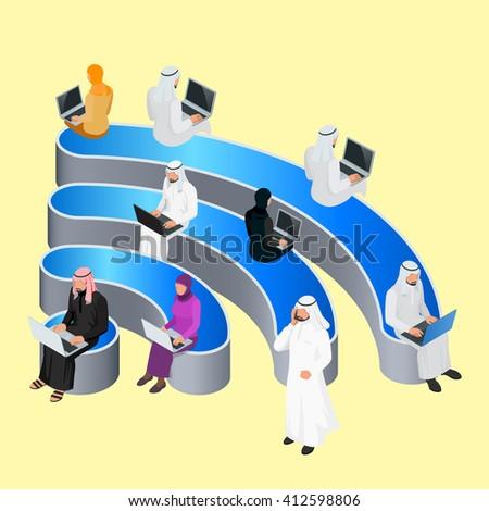 Public free Wi-Fi arabic, Wi-Fi Icon hotspot zone wireless connectio, Wi-Fi Icon Social Networking Communication, Wi-Fi Icon Concept, Wi-Fi Icon Isometric, Wi-Fi Icon flat 3d vector illustrations - stock vector