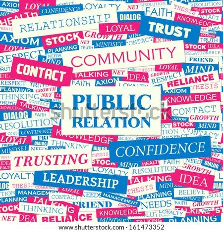 PUBLIC RELATION. Concept illustration. Graphic tag collection. Wordcloud collage. Vector illustration. - stock vector