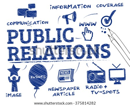 Public relations. Chart with keywords and icons - stock vector