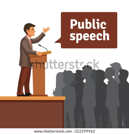Public speaker standing behind rostrum speaking to gathered public. Flat style vector illustration isolated on white background. - stock vector