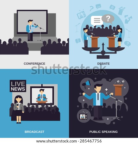 Public speaking design concept set with conference debate broadcast flat icons isolated vector illustration - stock vector