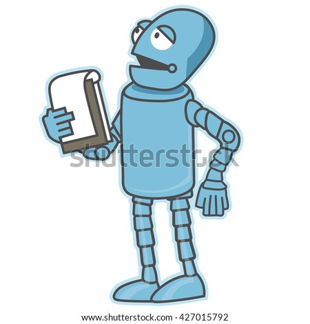 Public speaking robot. Artificial intelligence reads the text. Technical progress in the future - stock vector