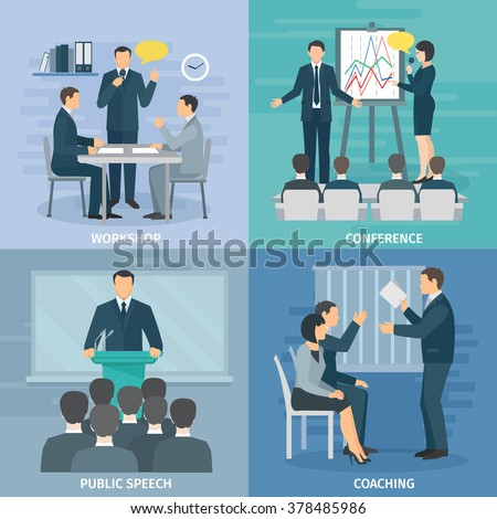 Public speaking skills coaching workshop presentation and conference 4 flat icons composition square abstract isolated illustration vector - stock vector
