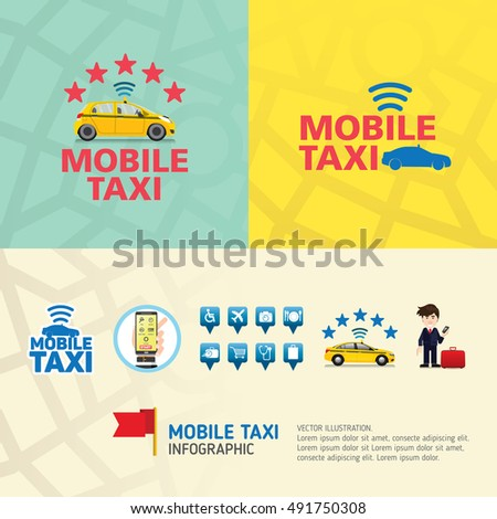 Public Taxi Service Application Mobile Business Icons Template Can Be Used For