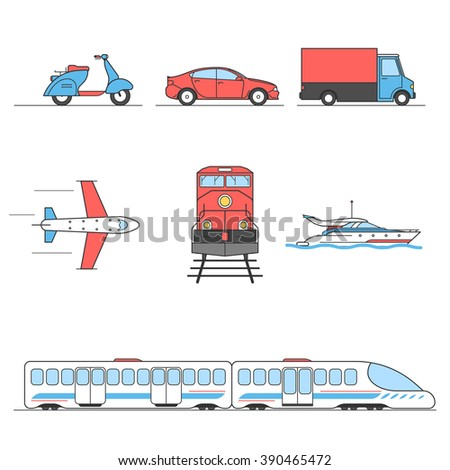 Public transport: aircraft, subway, train. Personal transport: car, moped, yacht, sailboat, truck. Vector flat illustrations. Flat Vector illustration for your design a web banner for website or print - stock vector