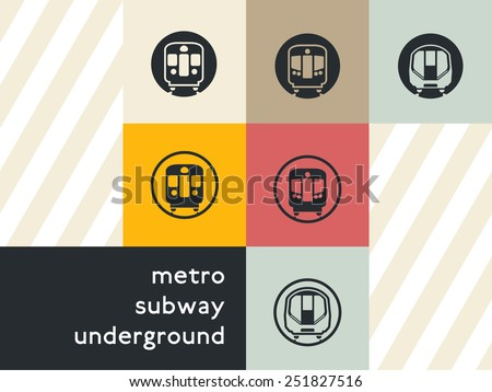 Public transport icon set: flat vector silhouettes of passenger rapid transit vehicles of classic, modern ages and in between. Unified style. For maps, infographics, and city-oriented apps. - stock vector