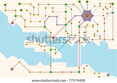 public transport or tube map, traffic concept - stock vector