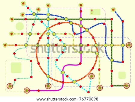 public transport or tube map, vector format - stock vector