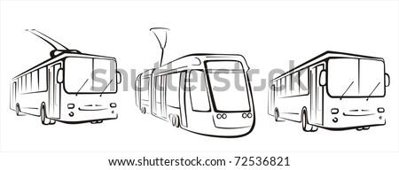 public transport set of symbols in simple black lines - stock vector