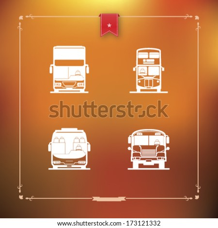 Public transport - various land vehicles, pictured here from left to right, top to bottom:  Modern double decker bus, Old fashion double decker bus, Tour bus, School bus.