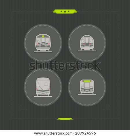 Public transport - various land vehicles, pictured here from left to right, top to bottom -  Subway train, Old fashion subway train, Modern subway train, Subway train.  - stock vector