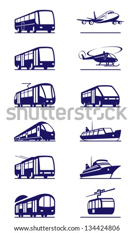 Public transportation icon set - vector illustration - stock vector