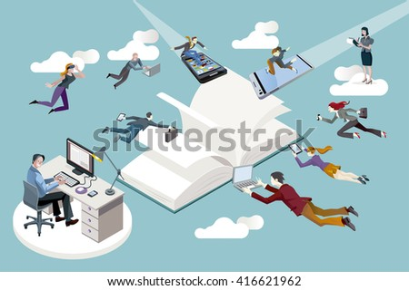 Publishing sector workers floating in the air toward an open book and working in it.