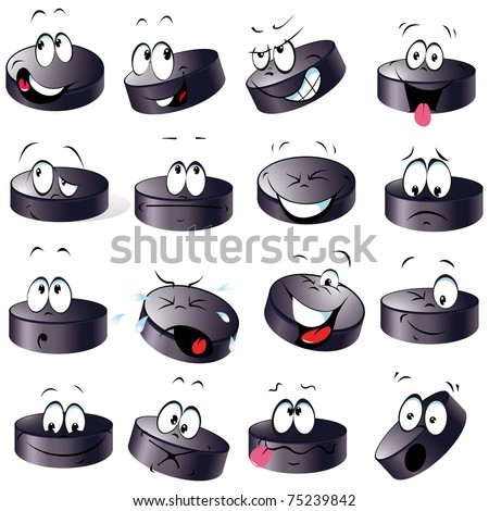 puck cartoon with many expressions - stock vector