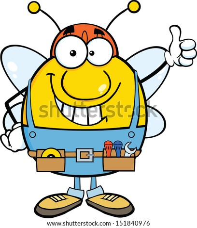 Pudgy Bee Worker Giving A Thumb Up - stock vector
