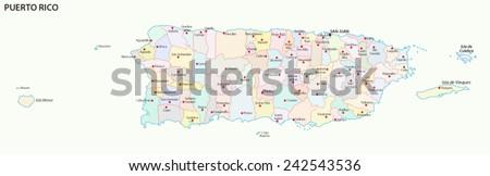 puerto rico administrative map - stock vector