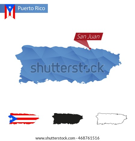 Puerto Rico blue Low Poly map with capital San Juan, four versions of map. Vector Illustration.