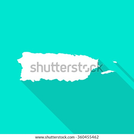 Puerto Rico map flat simple style. Puerto Rico border. Puerto Rico white map. Puerto Rico map with long shadow. Puerto Rico map on turquoise background. Modern style map of Puerto Rico. - stock vector