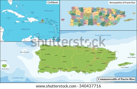 Puerto Rico, officially the Commonwealth of Puerto Rico is a United States territory located in the northeastern Caribbean. - stock vector