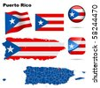 Puerto Rico vector set. Detailed country shape with region borders, flags and icons isolated on white background. - stock photo
