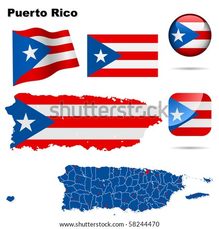 Puerto Rico vector set. Detailed country shape with region borders, flags and icons isolated on white background. - stock vector