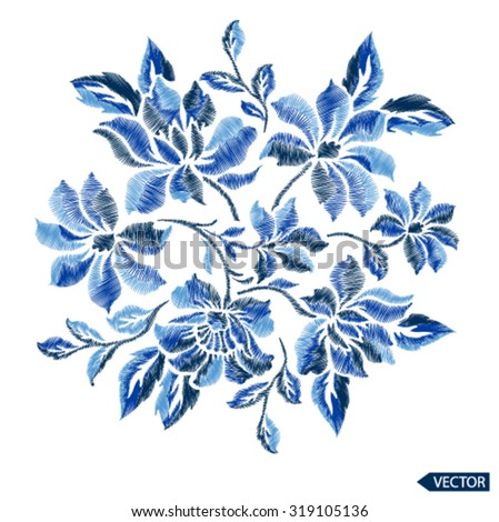 puff print flower graphic embroidery effect - stock vector