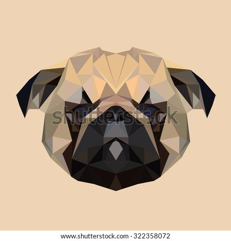 Pug puppy dog low poly design. Triangle vector illustration. - stock vector