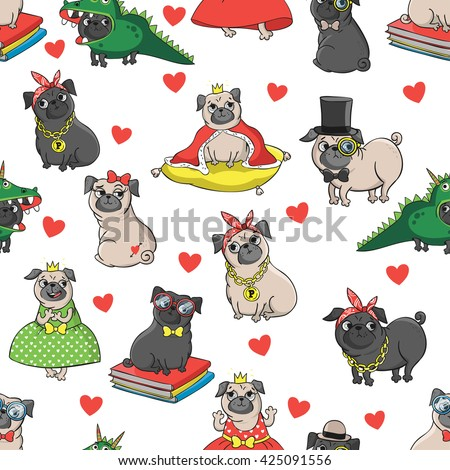 Pugs characters(princess, nerd, king, dragon, sexy, gangster, bad dog, etc). Seamless vector pattern with funny dogs. - stock vector