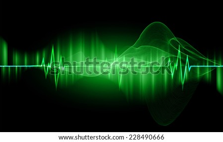 pulse heart glossy web icon on dark green background. Light Abstract Technology background for computer graphic website and internet.