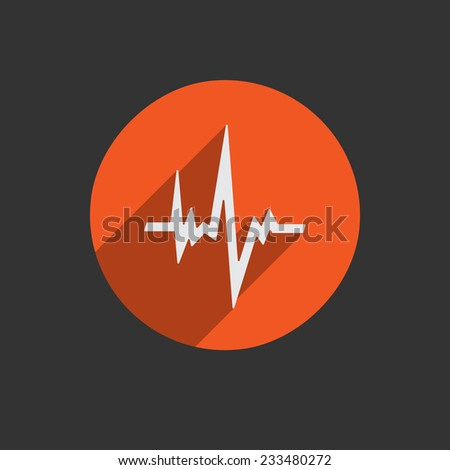 Pulse heart rate red icon in flat style with long shadow. White button on black background. Vector EPS10 - stock vector