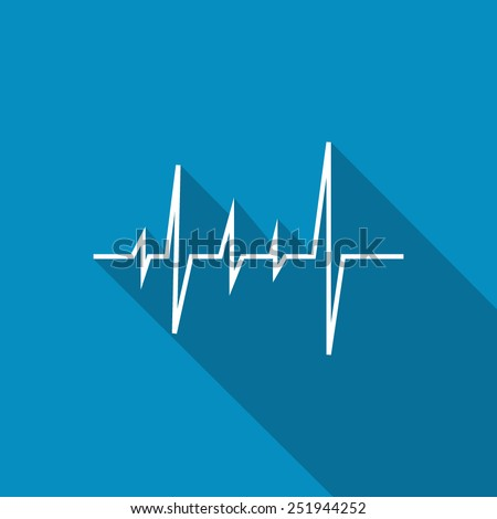 Pulse Heart Rate Vector Icon in flat style with long shadow - stock vector