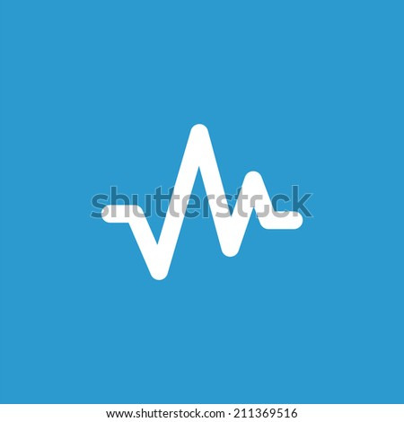 pulse icon, isolated, white on the blue background. Exclusive Symbols  - stock vector