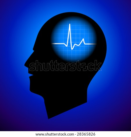 Pulse In Human Head - Fluctuating Mind (Vector) - stock vector