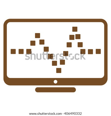 Pulse Monitoring vector toolbar icon. Style is flat icon symbol, brown color, white background, square dots. - stock vector